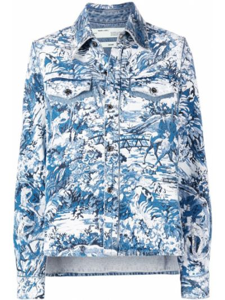 Niebieski bawełna z rękawami klasyczna koszula Off-white