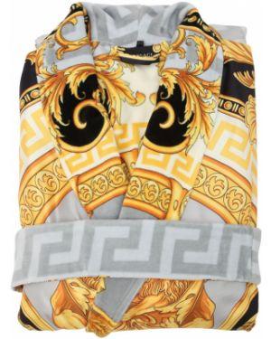 Szlafrok bawełniany z paskiem z printem Versace