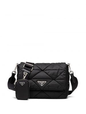 Стеганая черная сумка на плечо на молнии Prada