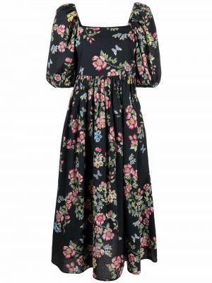 Czarna sukienka mini w kwiaty bawełniana Vivetta