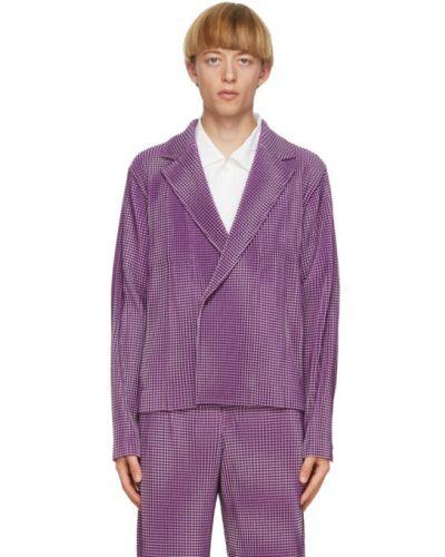 Белый удлиненный пиджак двубортный с карманами Homme Plissé Issey Miyake
