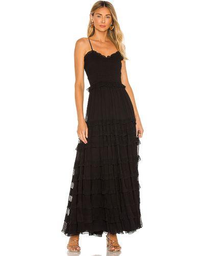 Czarny długo sukienka prążkowany na paskach z wiskozy Majorelle