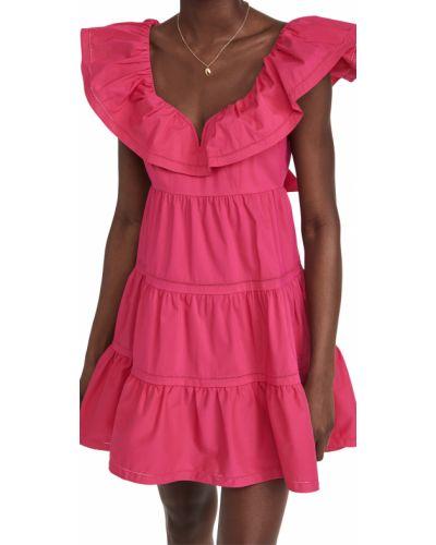 Розовое платье с декольте стрейч Saylor