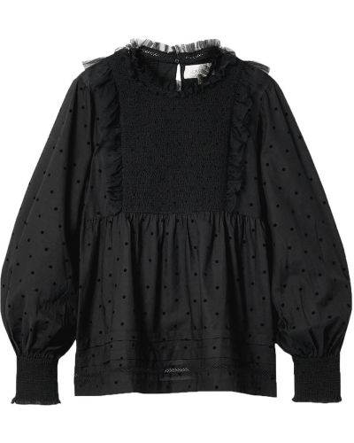 Черная блузка из вискозы с манжетами The Great.