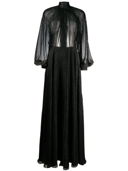 С рукавами черное шелковое платье макси с воротником Ports 1961