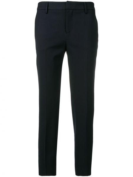 Шерстяные короткие темно-синие брюки с поясом Pt01