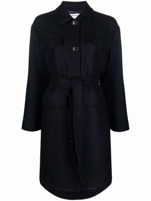 Шерстяное пальто - синее Semicouture