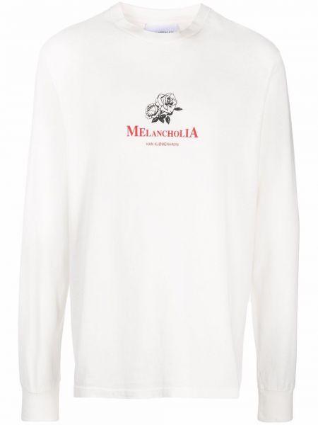 Biała t-shirt z printem Han Kjobenhavn
