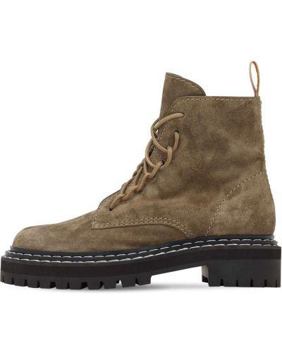 Коричневые кожаные ботинки на шнуровке Proenza Schouler