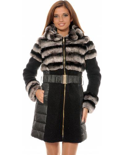Шерстяное черное пальто с капюшоном Mor`a