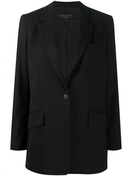 Шерстяная ватная черная длинная куртка Rag & Bone