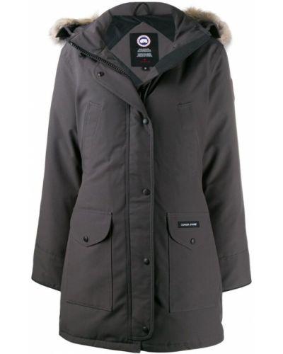 Длинное пальто серое на кнопках Canada Goose
