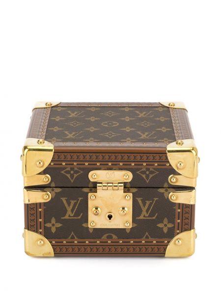 Золотистый коричневый кожаный футляр для очков Louis Vuitton