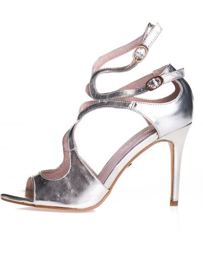 Złote sandały na szpilce Primamoda