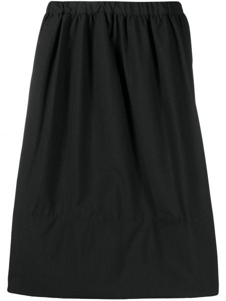 Czarny wełniany spódnica midi z kieszeniami za pełne Comme Des Garcons Comme Des Garcons