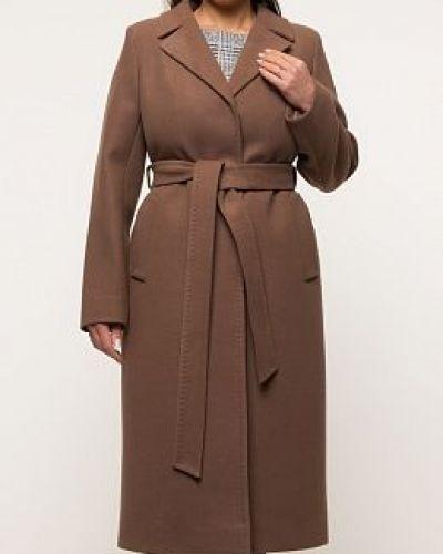 Коричневое шерстяное пальто с воротником заря моды