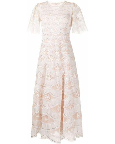 Розовое расклешенное платье Needle & Thread