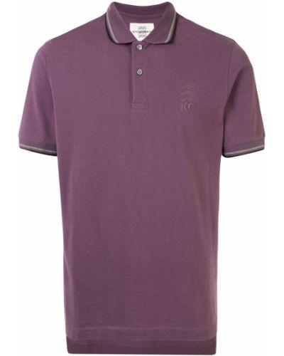 Фиолетовая рубашка с коротким рукавом с воротником с вышивкой на пуговицах Kent & Curwen