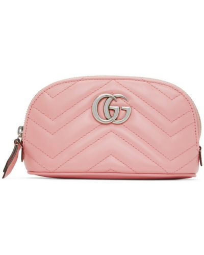 Włókienniczy różowy pikowana mini torebka z łatami Gucci