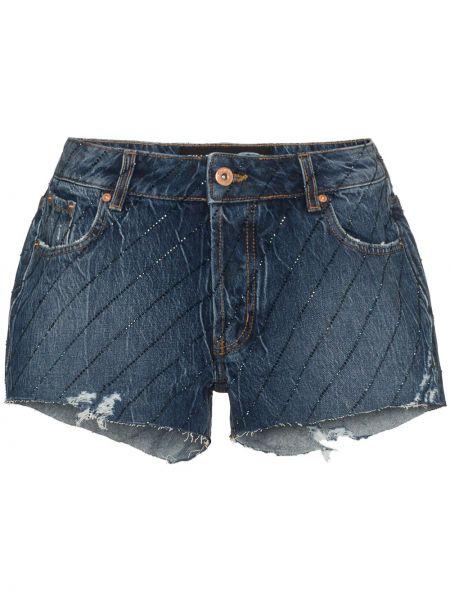 Черные джинсовые шорты с карманами со стразами Filles A Papa