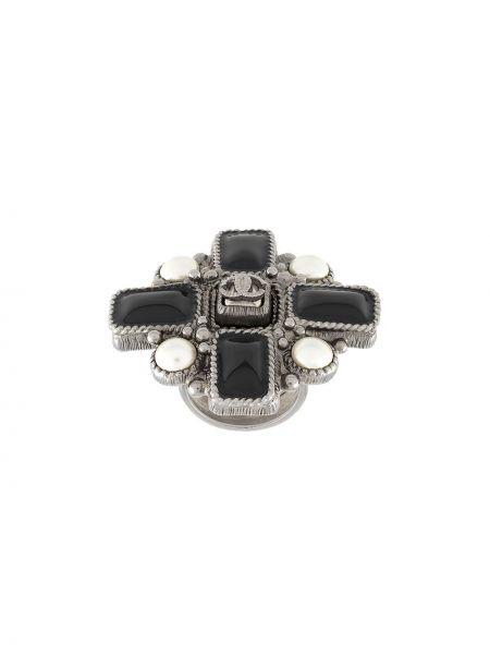 Czarny pierścień metal z perłami Chanel Pre-owned