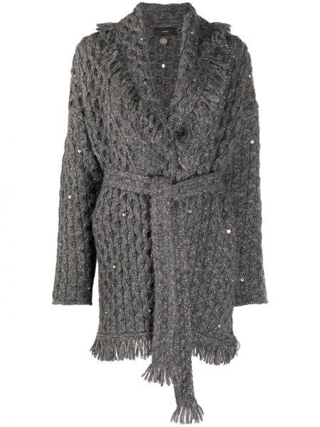 Серое кашемировое длинное пальто крупной вязки Alanui