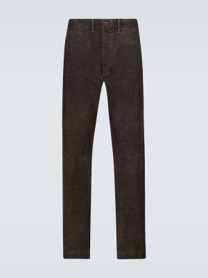 Коричневые прямые прямые брюки на пуговицах вельветовые Rrl
