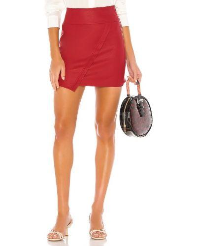 Красная кожаная юбка на молнии David Lerner