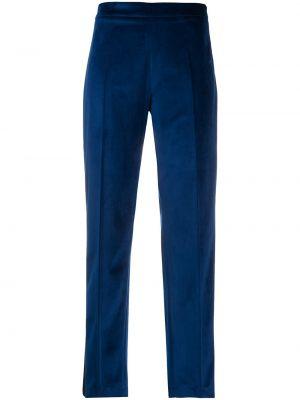 Бархатные синие укороченные брюки с высокой посадкой Hebe Studio