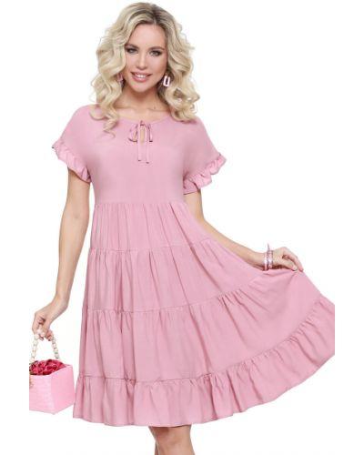Платье мини с оборками из вискозы с вырезом Dstrend