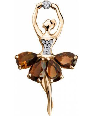 Серебряная брошь с камнями позолоченная Aquamarine