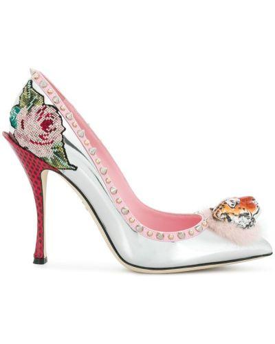 Кожаные туфли с вышивкой Dolce & Gabbana