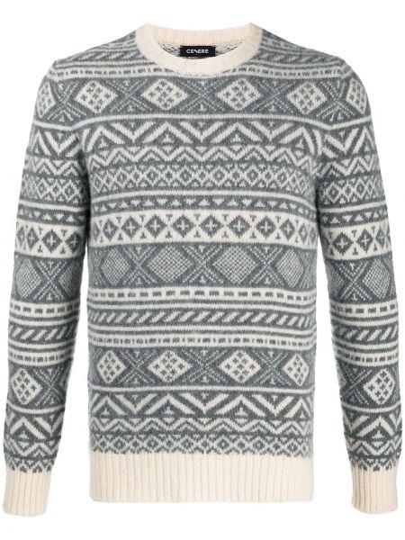 С рукавами серый шерстяной свитер с круглым вырезом Cenere Gb