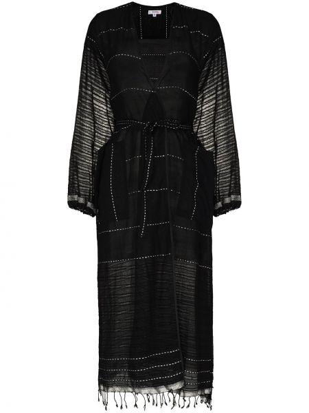 Czarny szlafrok bawełniany z długimi rękawami Lemlem