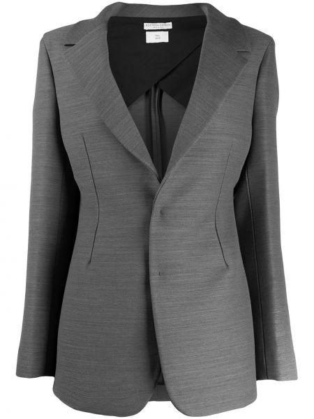 Шерстяной однобортный серый пиджак Bottega Veneta