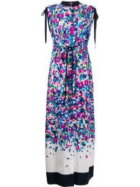 Синее платье макси без рукавов с вырезом Karl Lagerfeld