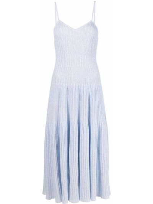 Niebieska sukienka midi w paski z wiskozy Antonino Valenti