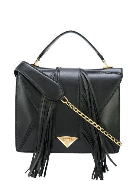 Черная сумка на цепочке квадратная с бахромой на молнии Tyler Ellis