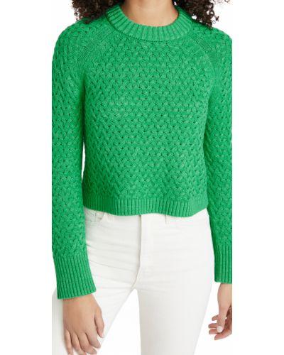Шерстяной пуловер мятный с рукавом реглан Alice + Olivia