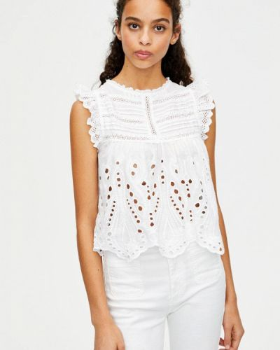 Блузка без рукавов белая весенний Pull&bear