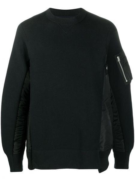 Czarna bluza z długimi rękawami bawełniana Sacai