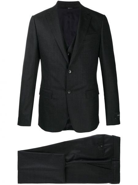 Wełniany kostium garnitur trójka z klapami z paskiem Z Zegna