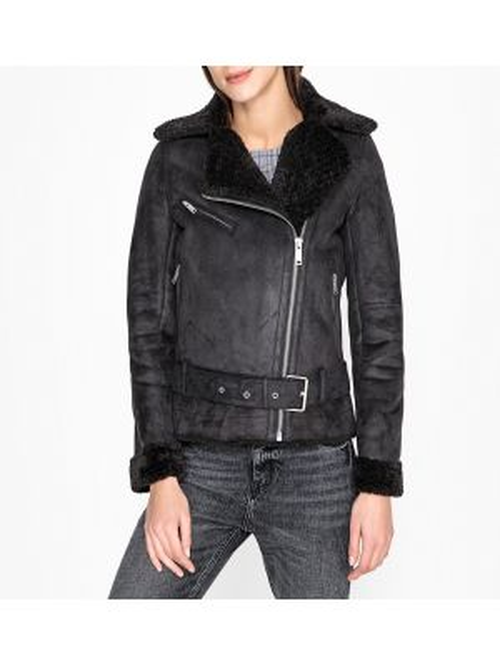 Черное кожаное пальто с воротником на молнии с поясом Ikks