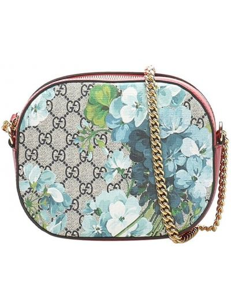 Золотистая парусиновая сумка через плечо на молнии с карманами Gucci Pre-owned