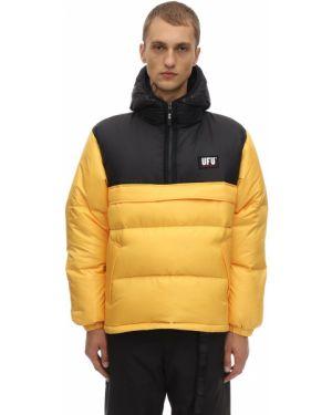 Żółta kurtka z kapturem z haftem Ufu - Used Future