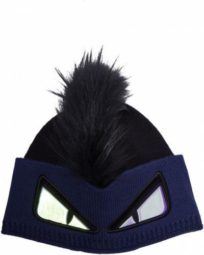 Вязаная шапка черная с отворотом Fendi