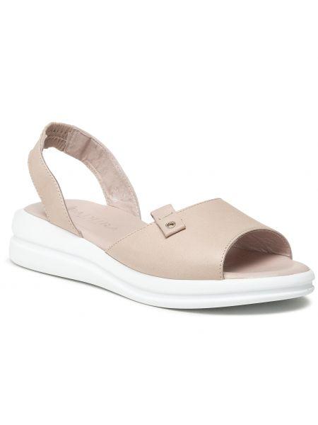 Sandały skórzane - różowe Badura