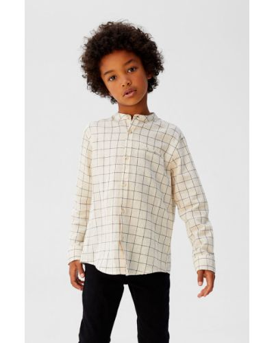 Рубашка белая с узором Mango Kids