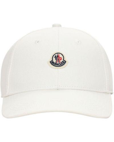 Bawełna bawełna biały kapelusz z łatami Moncler