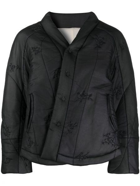 Черная стеганая куртка с декоративной отделкой с отворотом с карманами Renli Su